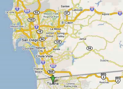 San Diego to Tijuana - Map