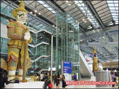 Statue of Yaksha at Suvarnabhumi International Airport in Bangkok - Thailand