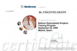 Balloon Kyphoplasty Training Certificate - Dr. Gilete