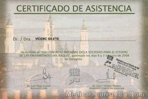 National Congress Spine Surgery - Dr. Vicenc Certificate
