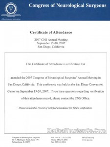 Neurosurgeons Congress Certificate