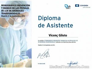 Spine Surgeon in Barcelona - Certificate
