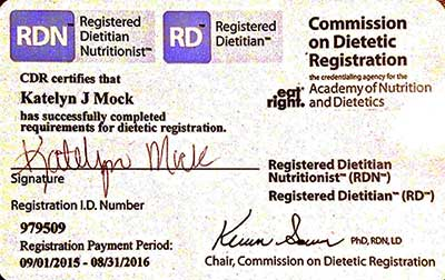 Registration Certificate of Bariatric Nutritionist