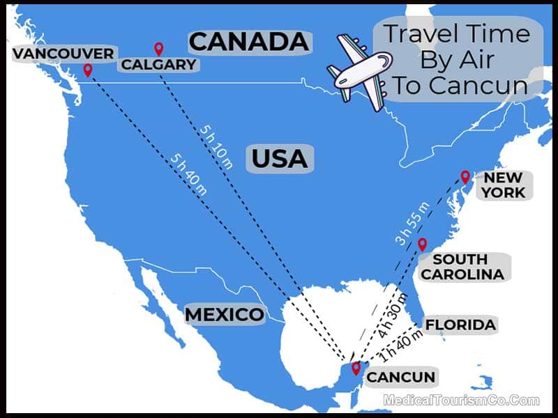 Travel Time By Air To Cancun